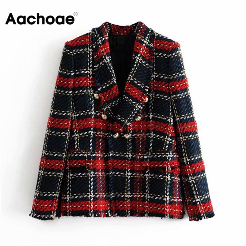Vintage Women Red Plaid Tweed Blazer Coat Elegant Double Breasted Tassel Suit Jacket Winter Long Sleeve Office Outerwear Blazer