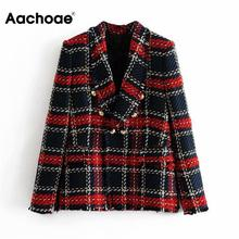 Vintage Women Red Plaid Tweed Blazer Coat Elegant Double Breasted Tassel Suit Ja