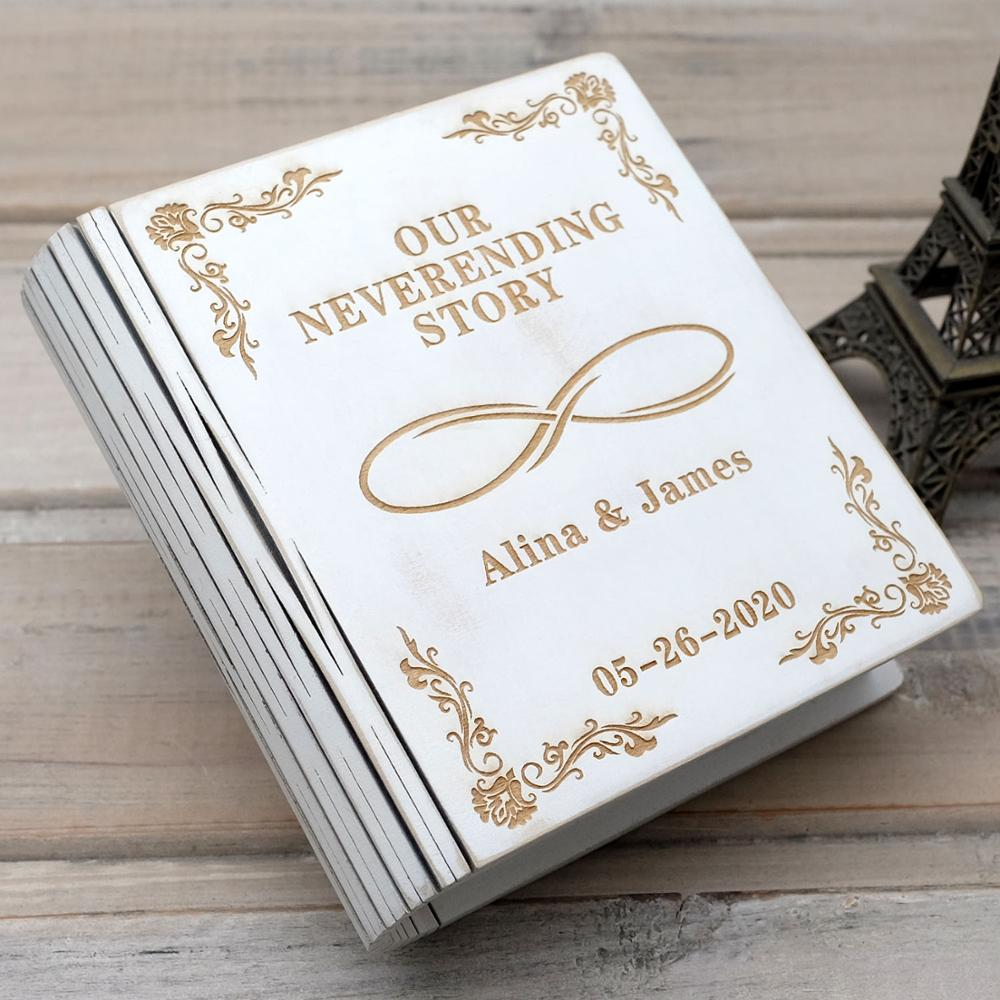 Personalized Wedding Ring Box Custom Ring Holder White Wood Ring Box Jewelry Bearer Rustic Valentine Wedding Gift For Engagement