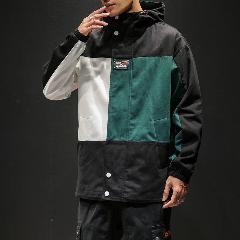 Designer Patchwork Hooded Jacket for Men 2020 Autumn Fashion Clothing Plus Size Hiking Outerwear Harajuku Streetwear Windbreaker 4