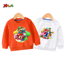 children cute sweatshirt hoodie Sweatshirts funny super mario autumn winter baby girl Sweater Casual Clothes outfit