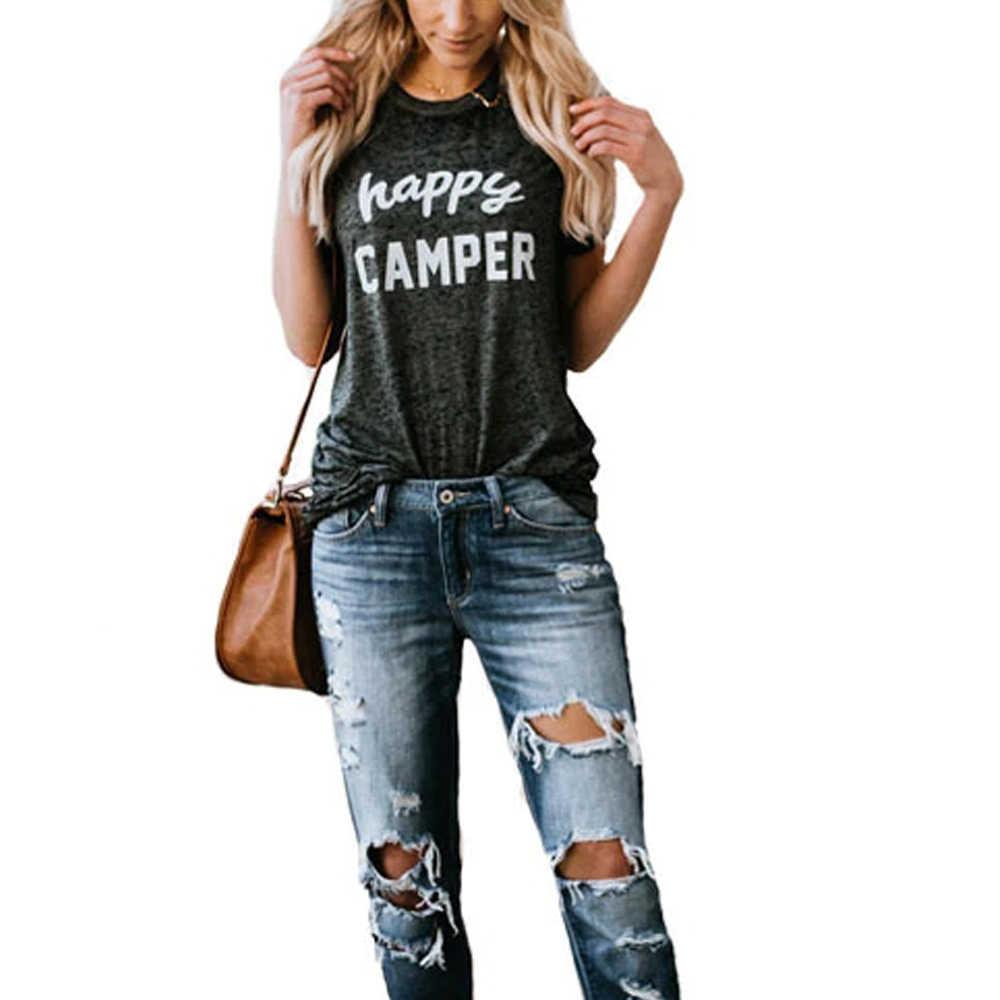 ファッションおかしいヒップスター女性原宿ハッピーキャンパープリント tシャツ半袖 Camiseta Mujer フォロートップヴィンテージコットン Tシャツシャツ