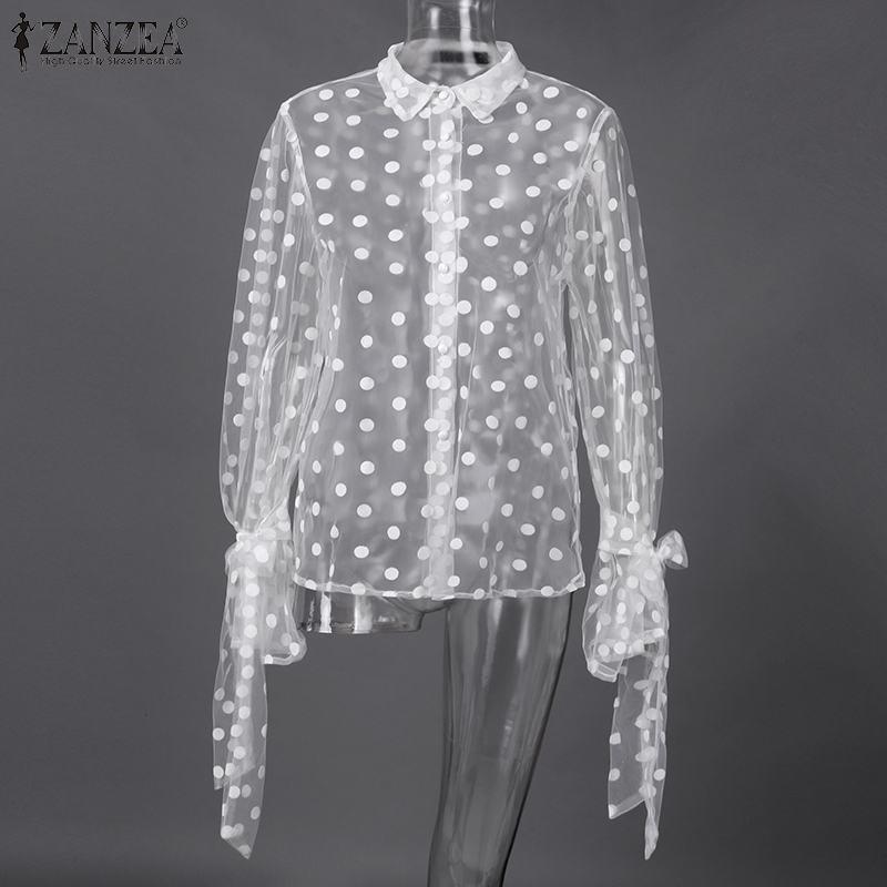 2020 Summer Women Blouse ZANZEA Lace Shirts Long Sleeve Sexy Hollow Out Tunic Tops Office Blusas Polka Dot Print Bohemian Tops 7