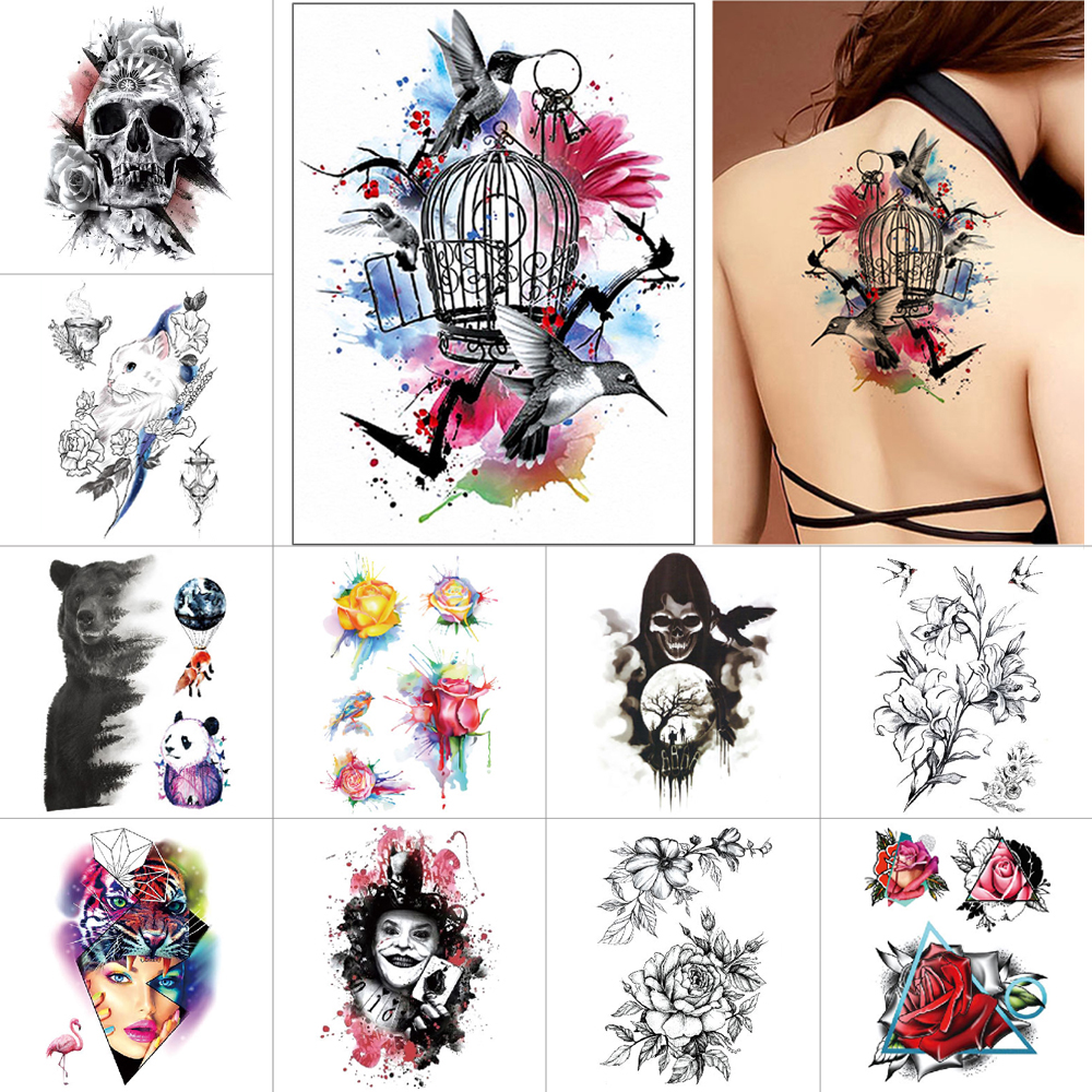 Black Ink Waterproof Tattoo Sticker Tiger Panda Bear Flower Temporary Tattoo Watercolor Butterfly Suicide Clown Clown Body Tatto