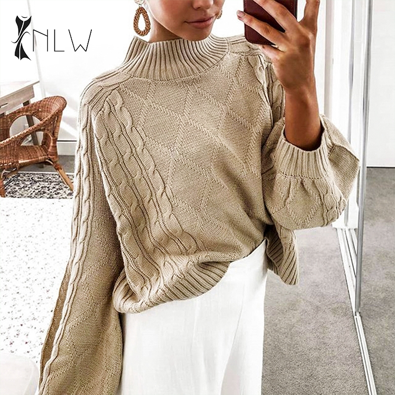 NLW Turtleneck Black Sweater Women Winter Oversized Knitted Sweater Jumper 2019 Fall Casual Lantern Sleeve Vintage Sueter Mujer