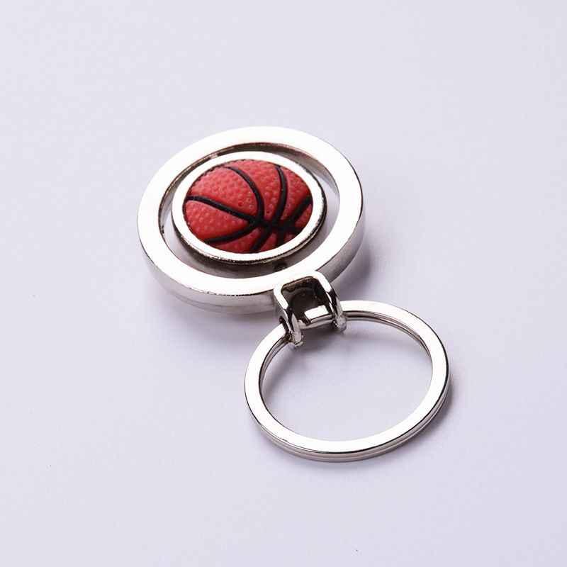 חדש אופנתי סגנון Rotatable כדור Keychain כדורגל כדורסל צורת מתכת תליון מפתח שרשרת טבעת קישוט ספורטאי מתנה