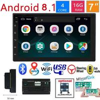Car 7 Inch 2 Din Radio Bluetooth HD 1024x600 Mp5 Player Universal Car Stereo GPS Navigation Integrated Machine For Android 8.1