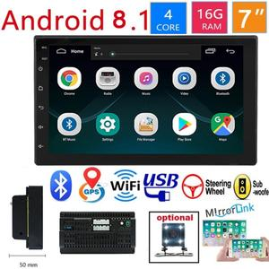 Car 7 Inch 2 Din Radio Bluetooth HD 1024x600 Mp5 Player Universal Car Stereo GPS Navigation Integrated Machine For Android 8.1(China)