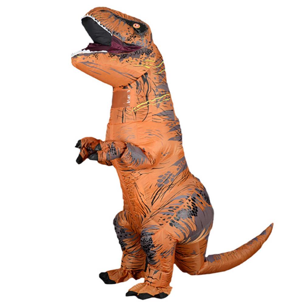 Fantasia cosplay de dinossauro para homens e mulheres, traje inflável de desenho animado halloween