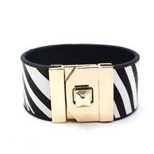 Женский кожаный браслет с леопардовым принтом элегантный широкий