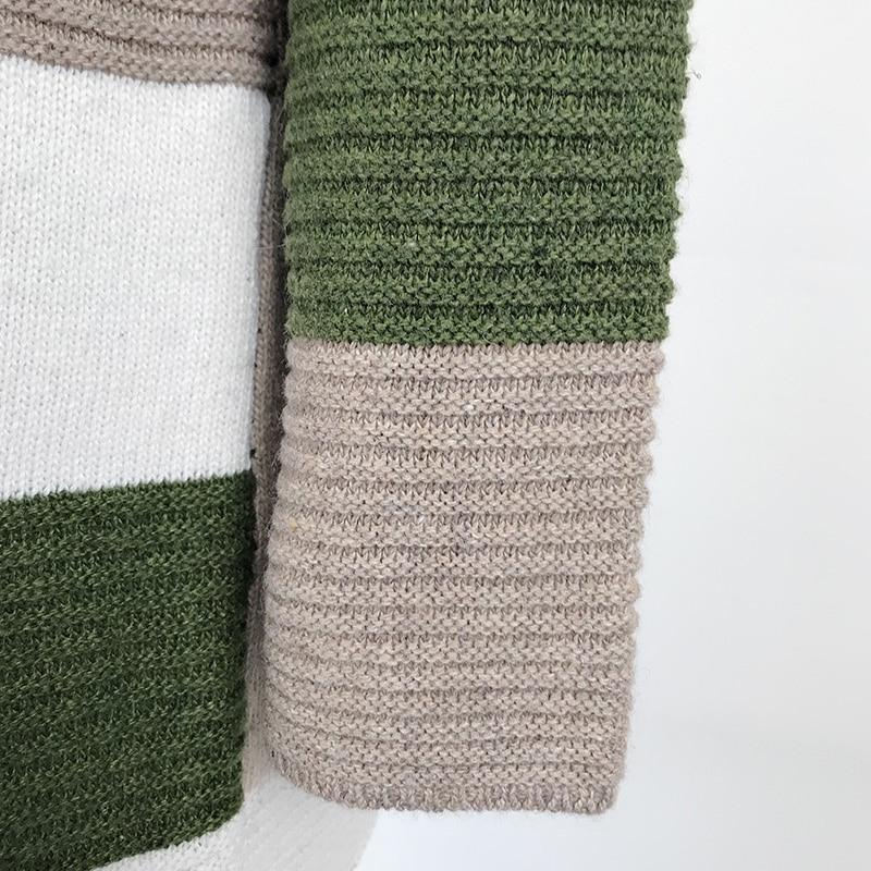 2020 Women knitted cardigan geometric stitching vintage long women sweater warm autumn winter loose cardigan coat female DR2246 (4)