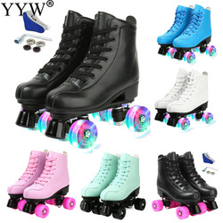 Women 12 Choice Pu Microfiber Roller Skates Skating Shoes Sliding Inline Skates Roller Sneakers Training Europe Size Row 4 Wheel