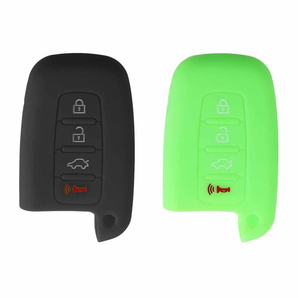 2 cores quentes silicone chave do carro capa, venda quente silicone chave do carro capa para hyundai santafe ix45 4 botões chave do carro inteligente novo