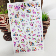 3D Nail Sticker Decals Fashion Butterfly Flowers Nail Art Decorations Stickers Sliders Manicure Accessories Nails Decoraciones
