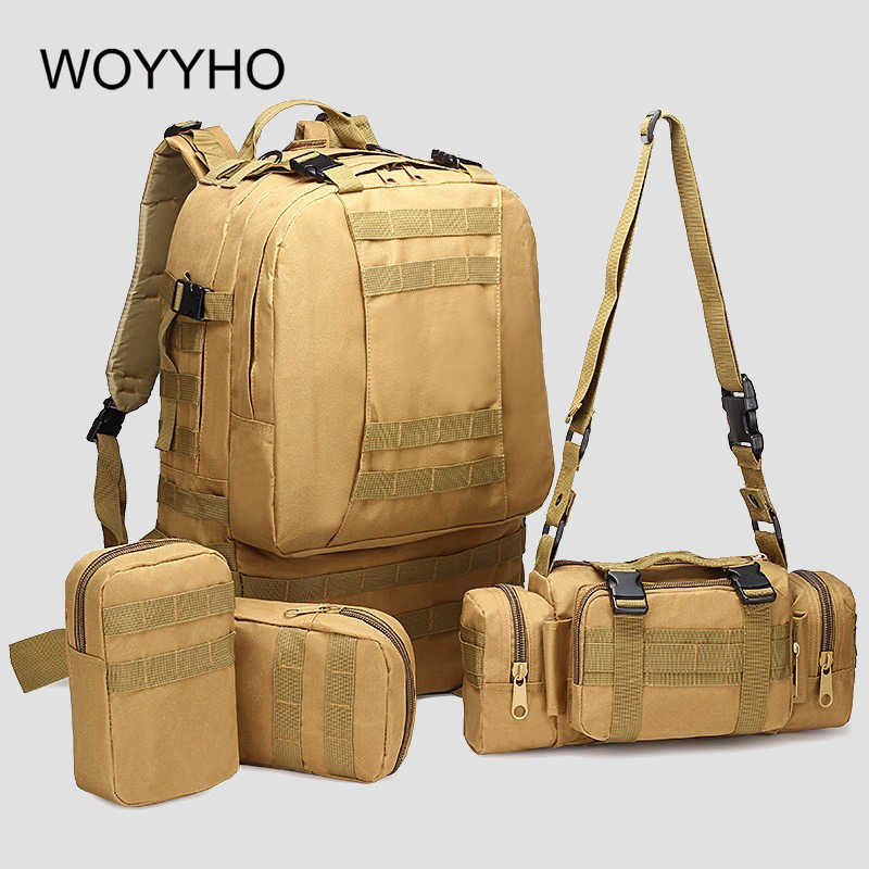 50L 4 In 1 Military Army Backpack,Outdoor Tactical Backpacks,Molle Camping Hiking Bag,Waterproof Sports Travel Climbing Backpack