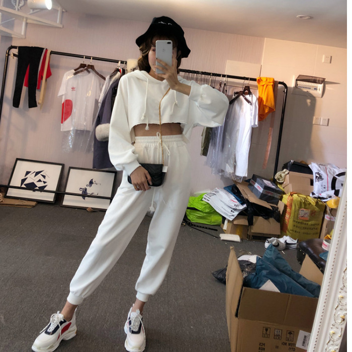 Girl's Fashion Casual Suit Student Summer Loose Cool Solid Jacket Pants Two Paper Dress Suit-dress Two-piece Suit With Hood