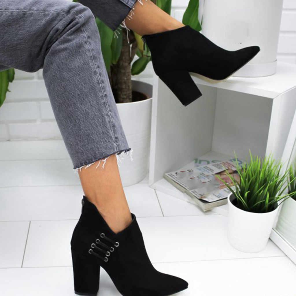 Chelsea yarım çizmeler kadınlar için sonbahar kış bayan ayakkabıları moda seksi düz renk sivri burun tek kısa çizmeler botas mujer