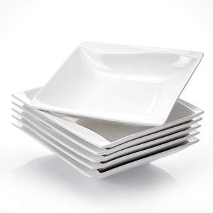 "Image 2 - MALACASA Carina 6 Piece 8"" Cream White Porcelain Ceramic Deep Kitchen Dinner Plates Soup Plates Salad Fruit Dishes"