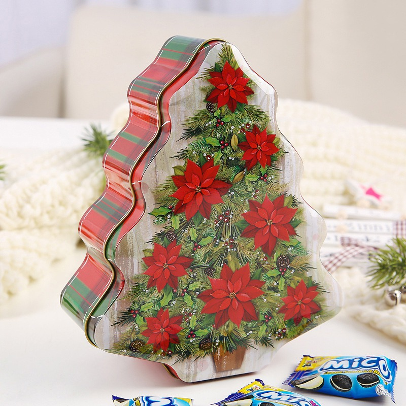 Christmas Candy Gift Box Portable Christmas Box Theme Tin Case Decorative Candy Gift Box Storage Container
