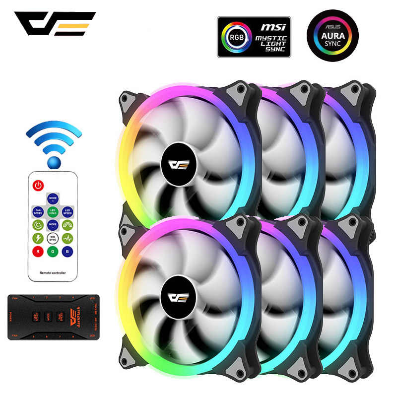 Darkflash CS140 RGB Kipas Case 140 Mm Aura Sync PC Pendinginan RGB Fan 5V/3pin Kecepatan Menyesuaikan Tenang IR Remote Komputer Cooler Fan
