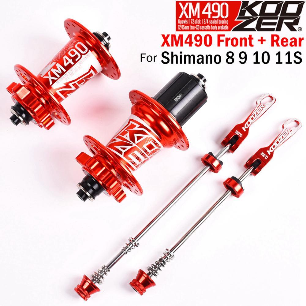 Novo koozer xm490 hubs selado 4 rolamento mtb mountain bike hub hub traseiro 10*135mm qr 12*142mm 28 32 36 furos de freio a disco cubo da bicicleta