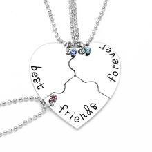 Three-hearted BFF Pendant Link Chain Necklace Fashion Jewelry Chain Necklaces A1837(China)