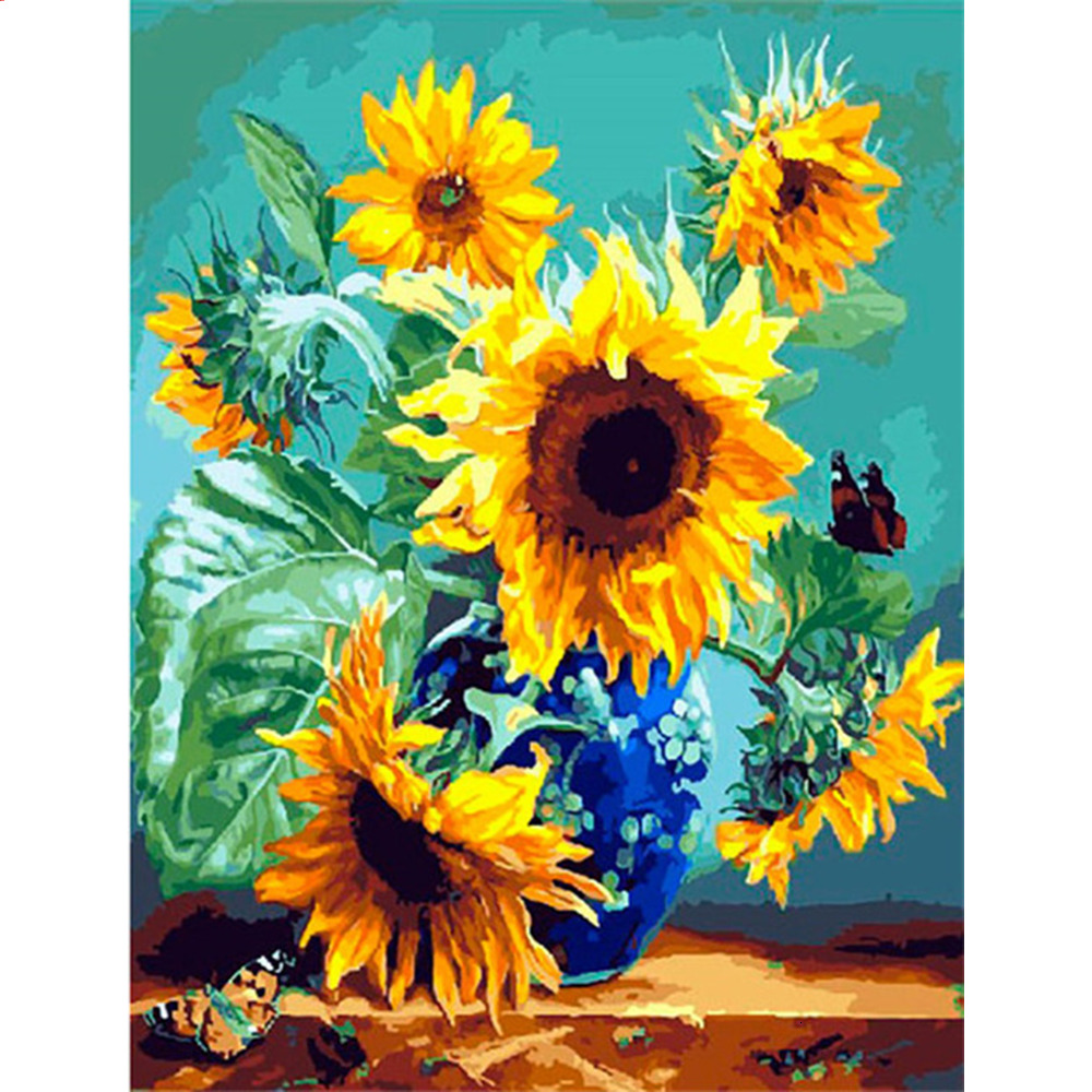 HUACAN DIY Paint By Numbers Sunflowers HandPainted Oil Painting Drawing Kits Canvas Pictures Home Decoration Gift