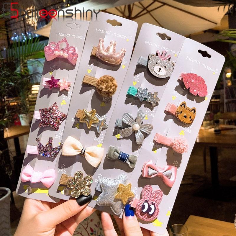 BalleenShiny 5pcs Cute Kids Hair Pin Korean Children's Hair Clip Set Bow Hairpin Infant Baby Headdress Birthday Gifts For Girls