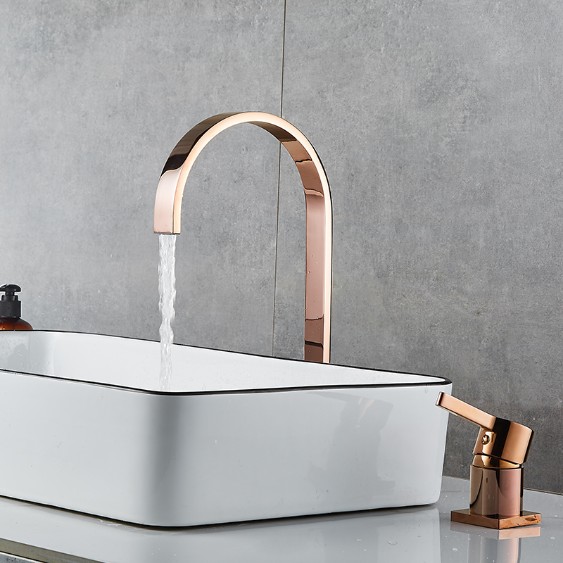 Basin Faucet Bathroom Super Long Pipe Two Holes Rose Gold Widespread Bathroom Faucet Sink Tap 360 Rotating Widespread Basin Tap