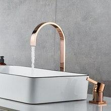 Havza musluk banyo süper uzun boru iki delik gül altın yaygın banyo musluk evye musluğu 360 dönen yaygın havza musluk
