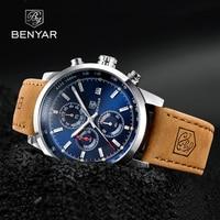 Benyarは、男性の高級ブランドクォーツ時計ファッションクロノグラフ腕時計リロイhombreスポーツ時計男性時間レロジオmasculino 2020