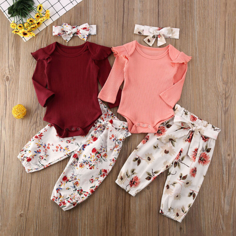 0-24 Months Newborn Clothes Set 2020 New Baby Girl Bodysuit Tops Pink Red Pants Outfits Baby Girls Clothes Toddler Newborn Set