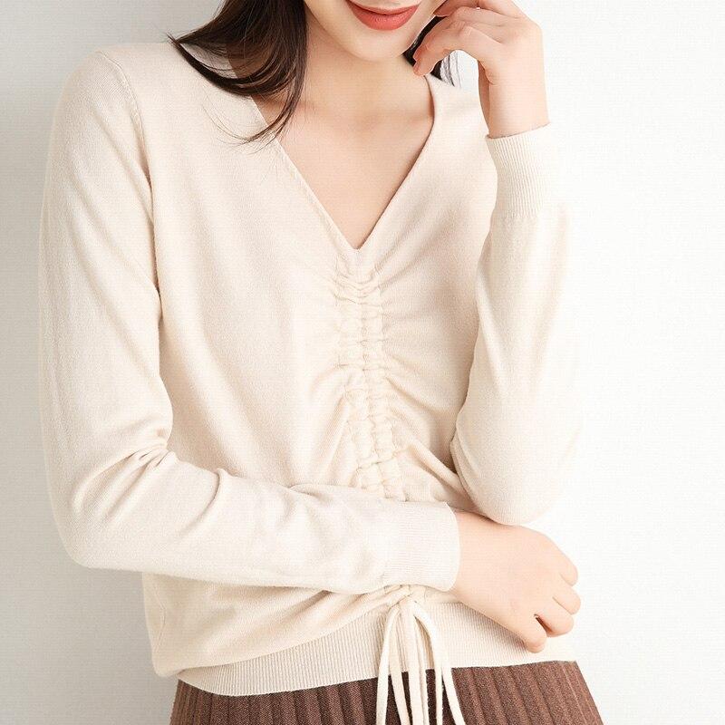 Женский свитер 2020 осень и зима новый стиль с однотонным v-образным вырезом пуловер шнурок с длинными рукавами кашемировый свитер