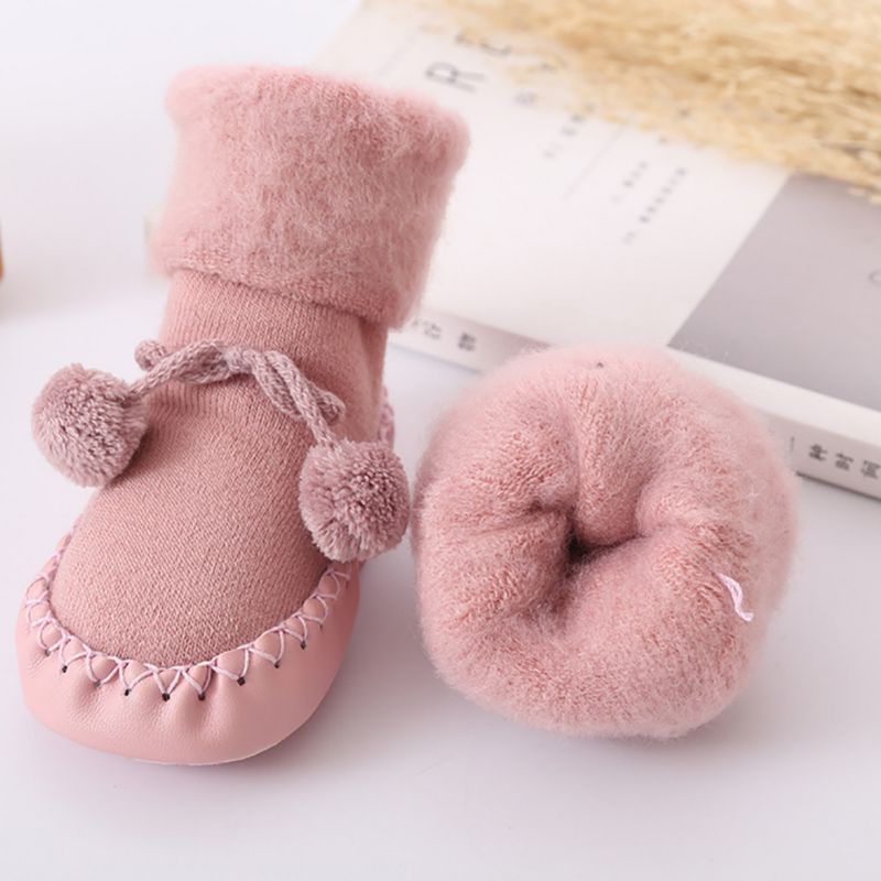 Newborn Baby Socks Floor Non-slip Cotton Socks Thick Warm Velvet Fluffy Ball  Baby Girls Boys Soft Cute Boots Baby Shoes