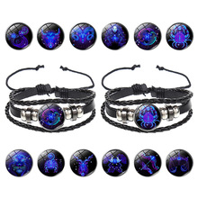 Explosive Model Couple Lucky Bracelet 12 Constellation Multilayer Woven Night Light Punk Stars Sky Jewelry