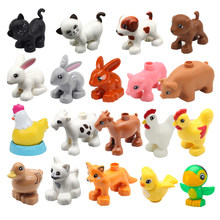 Big Size Building Blocks Duploe Animal Farm Pig Rabbit Cat Dog Parrot Butterfly Bird Accessories Toys For Children Kids Gift