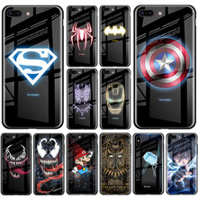 Marvel Luminous Glass Phone Case For iPhone X XS MAX XR 6 6s 7 8 Plus Back Cover Case For Samsung S8 S9 S10 Plus Note 8 9 10 Pro(China)