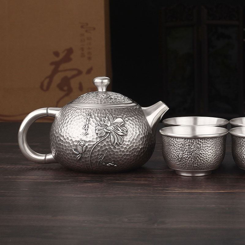 Silver Pot Sterling Silver 999 Pot Kettle Buddha Heart Zen Teapot Full Silver Water Tea Set 1 Pot 6 Cups Teapot