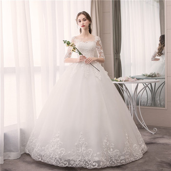 Wedding Dress Fashion Embroidery Lace Up Plus Size Custom Made O Neck Wedding Dresses Half Sleeve Ball Gown Robe De Mariee