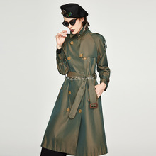 Autumn 2019 New Womens Double-breasted Extended Trench Coat Chameleon Women