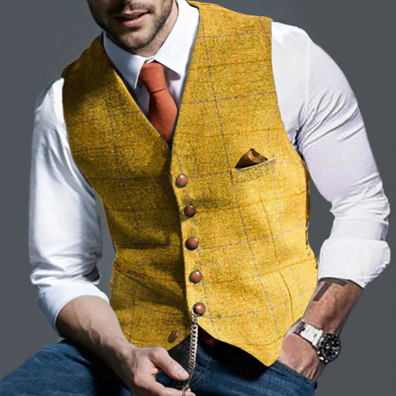 2020 Men's Suit Vest Boutique Wool Tweed Slim Fit Leisure Cotton Male Gentleman Beckham Business Waistcoat For Wedding Groomsmen