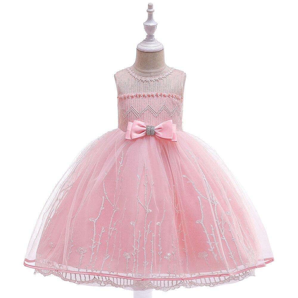 INS New Style CHILDREN'S Dress Fresh Embroidery Princess Skirt Bow Diamond Set Wedding Dress Pink Cotton Lining Child Formal Dre