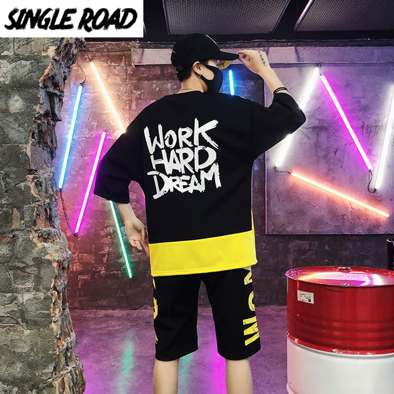 SingleRoad Men's Japanese Streetwear Sets Men Patchwork Summer T-Shirt Shorts Men Hip Hop Punk Tracksuit Korean Clothes Male
