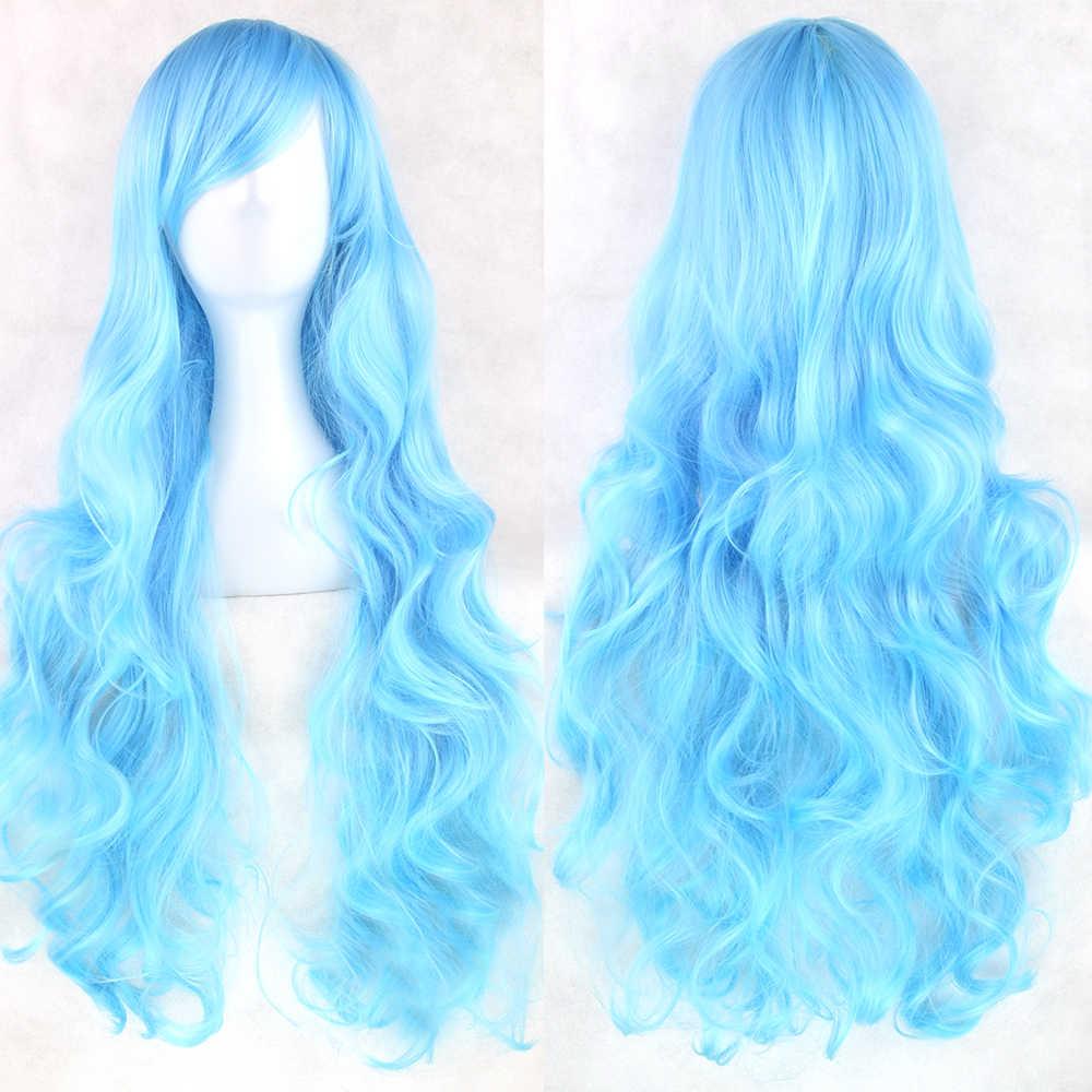 Soowee 24 Kleuren 80 Cm Lange Synthetisch Haar Pruik Voor Vrouwen Hittebestendige Vezel Haarstukje Roze Grijs Rechte Cosplay Pruiken