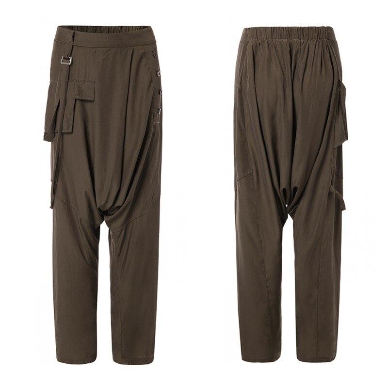 ZANZEA Women Elastic Waist Harem Pants Solid Wide Leg Trousers Female Drop Crotch Pants Loose Pantalon Plus Size Casual Pants