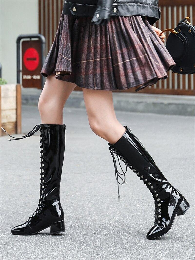 Cuir verni Style britannique mi-mollet bottes miroir en cuir verni chaussures pour femmes bout carré avec Long Tube cavalier bottes pour femmes