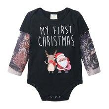 Toddler Jumpsuit Tattoo Short-Sleeve Newborn-Baby Little Boys Cotton Novelty Christmas