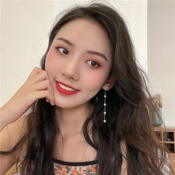 925 Silver Needle Korean Long Pearl Tassel Earrings Simple Temperament Ear Stud All-match Fashion Ear Pendant Hanging Earrings image