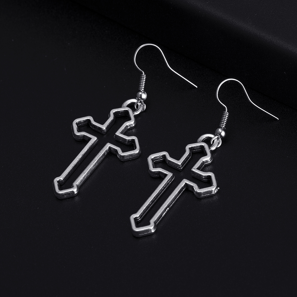 Trendy Vintage Cross Shape Dangle Antique Silver Plated Earrings for Women Girl Retro Drop Earrings Cute Earring Jewelry Bijoux