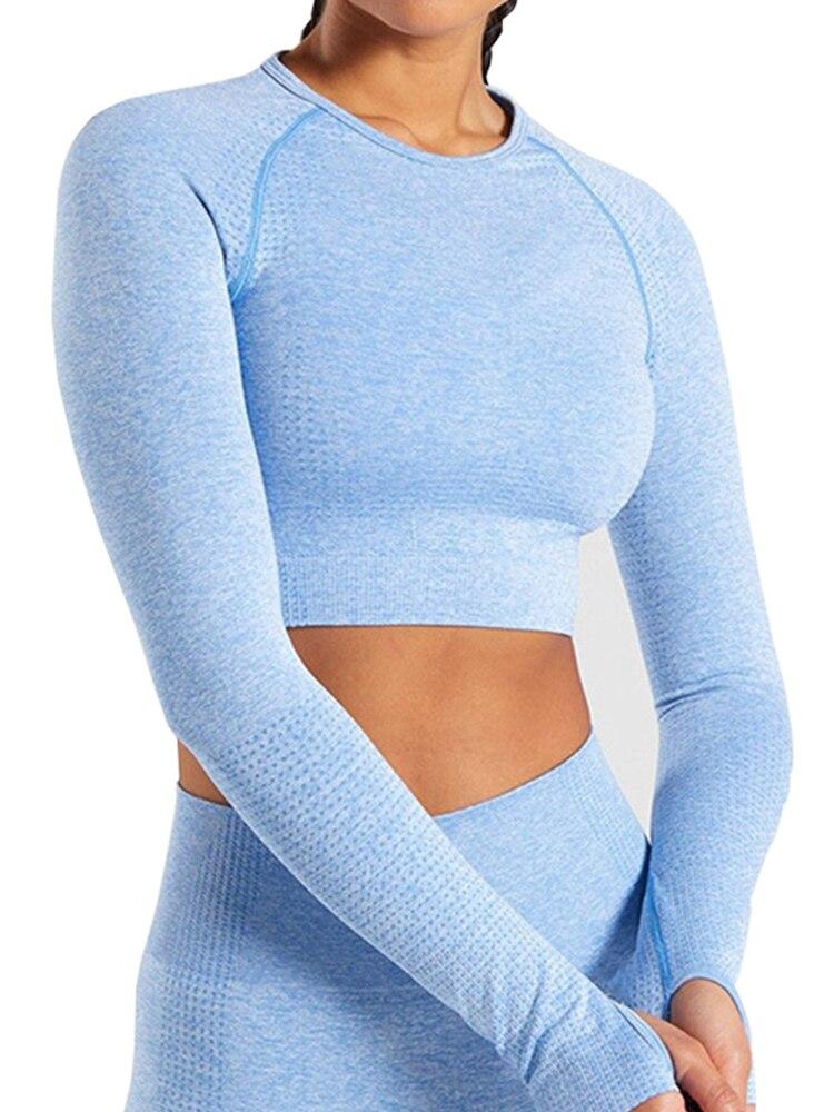 T-Shirt Sportswear Top-Vital Workout-Tops Crop Fitness Seamless Long-Sleeve Women Gym